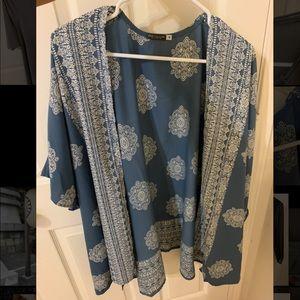Earthbound Blue patterned Kimono/Cardigan (Medium)